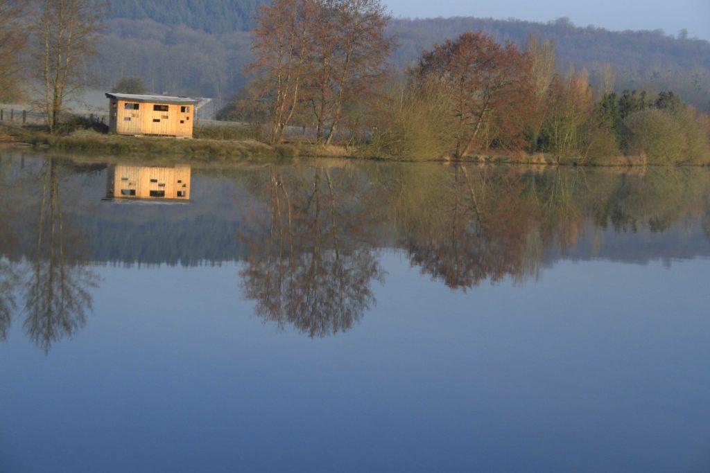 Vue du poste d'observation à l'étang des Bercettes, à Neuvilly en Argonne Meuse